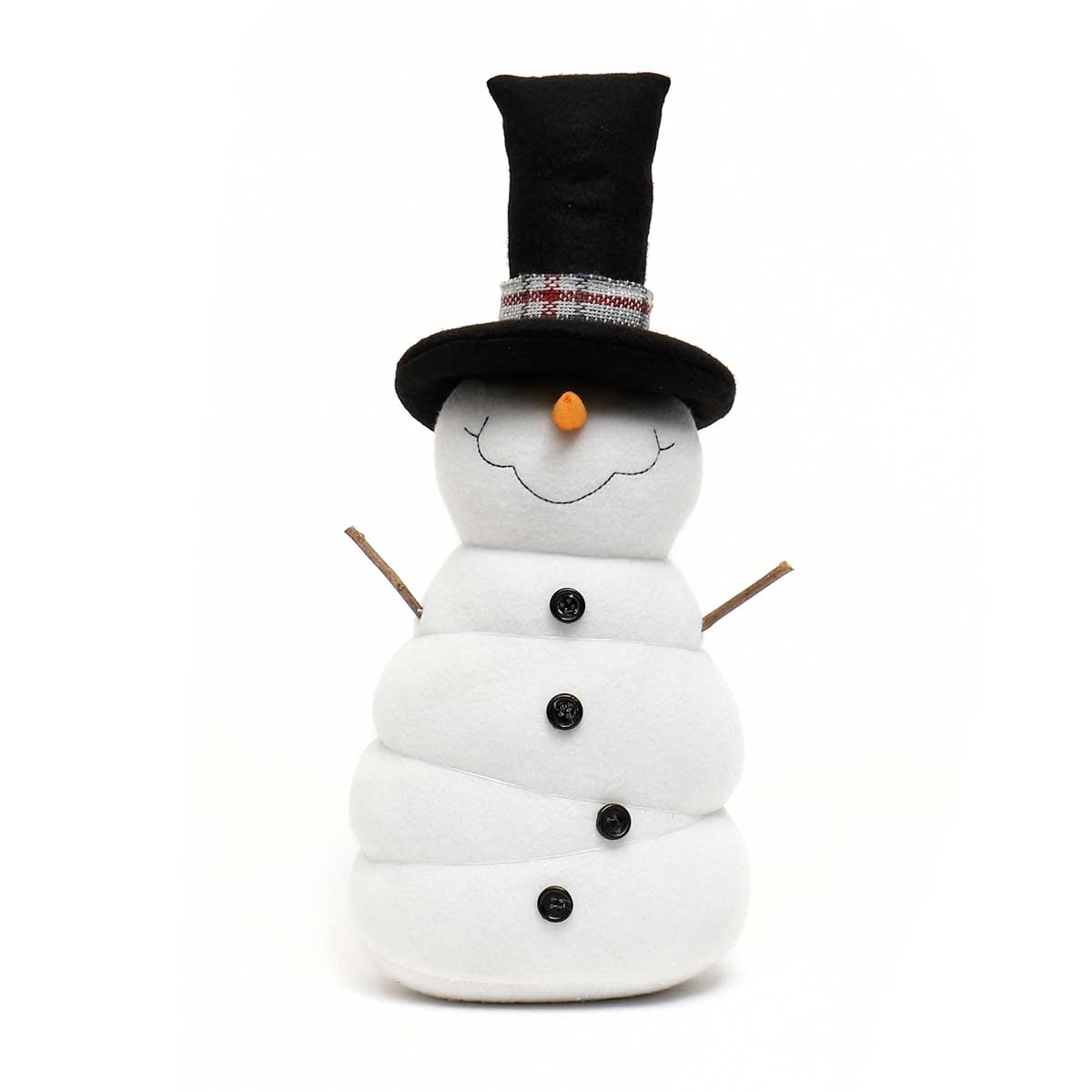 "FROSTY SNOME SNOWMAN 6""X16"" WITH BLACK HAT AND PLAID BAND"