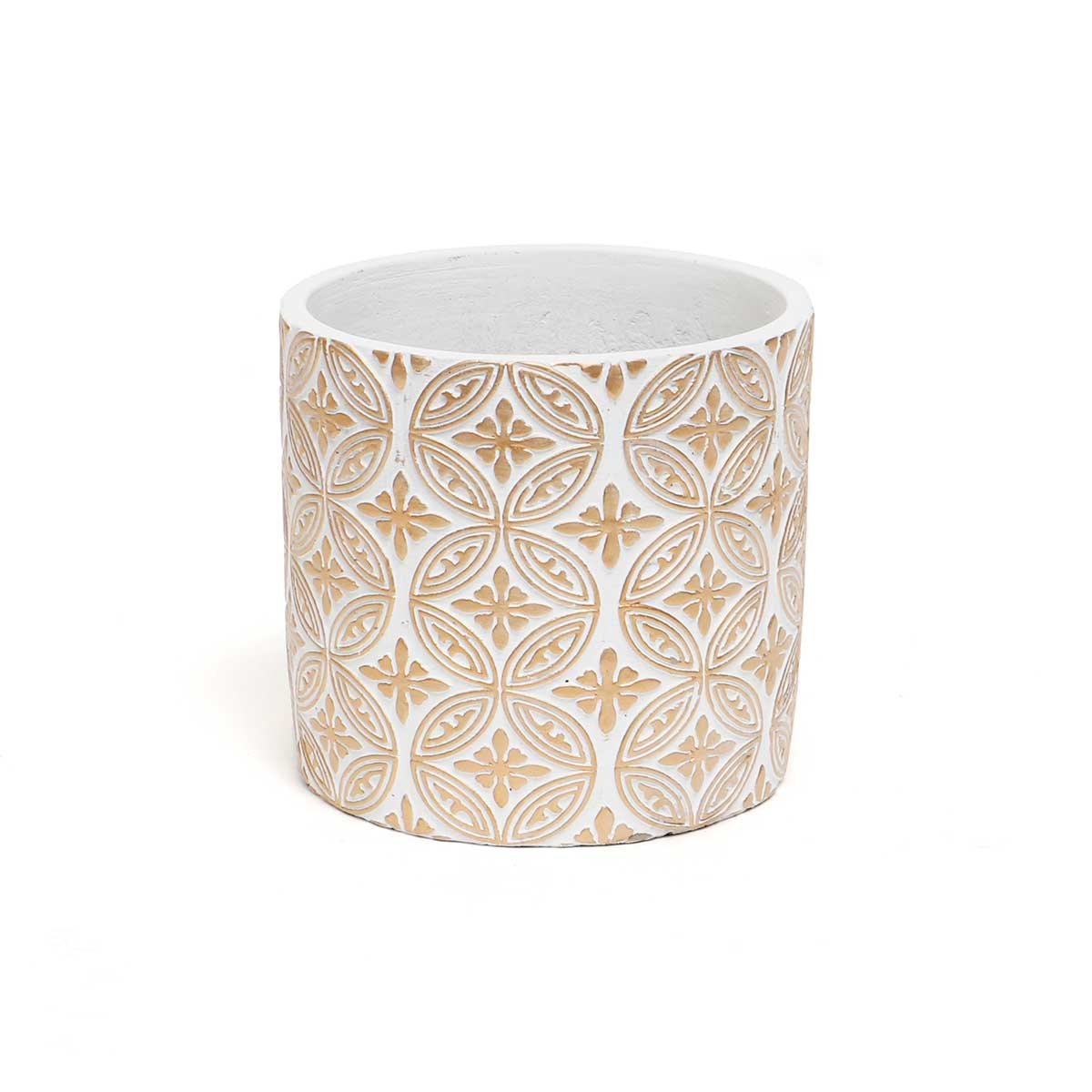 GALA WHITE/GOLD CONCRETE POT