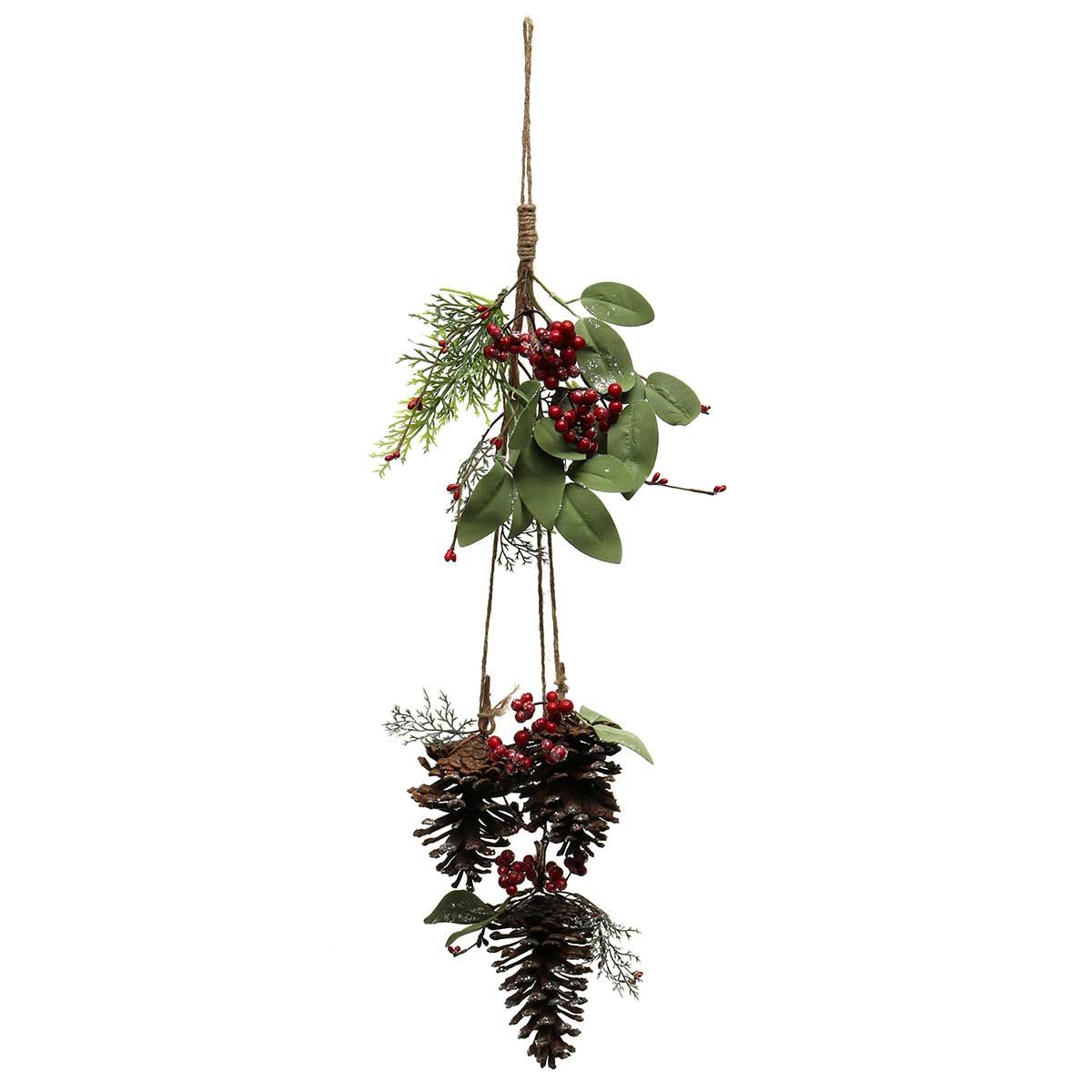 "YULE LAUREL WITH BERRIES AND PINECONE DROP WITH TWINE HANGER 7""X"