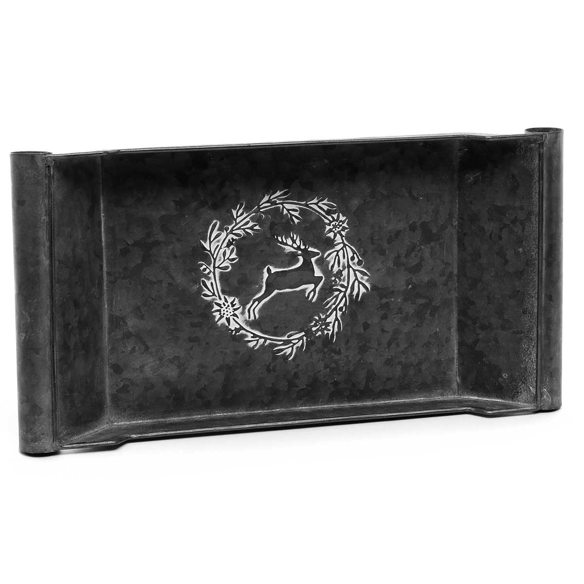 "METAL TRAY EMBOSSED WITH WREATH/DEER 17""X8.5""X2"""