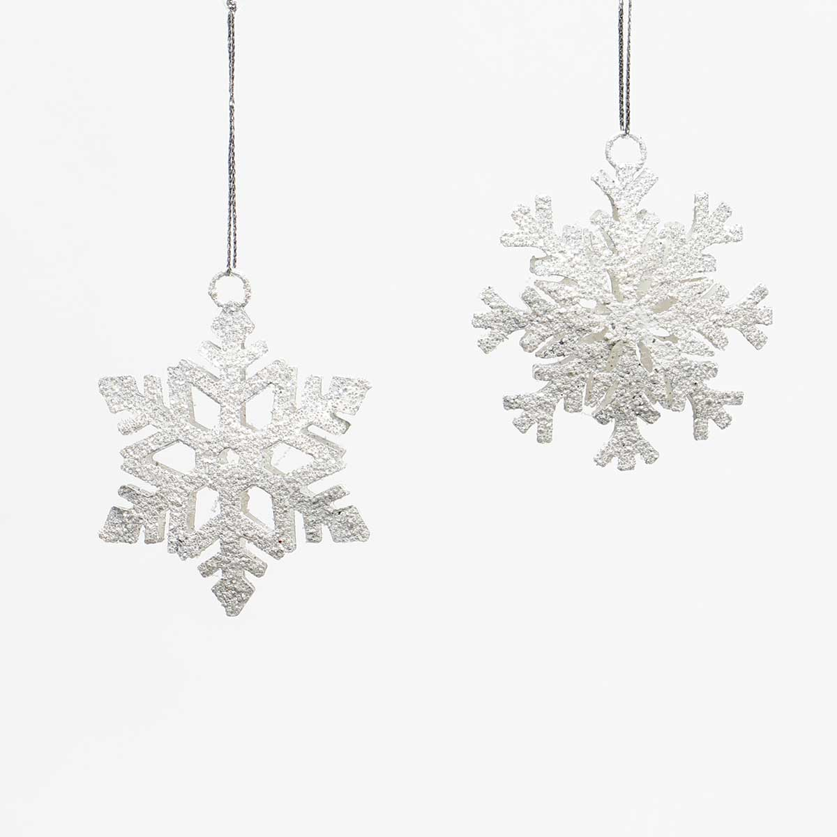 MINI WHITE METAL SNOWFLAKE ORNAMENT