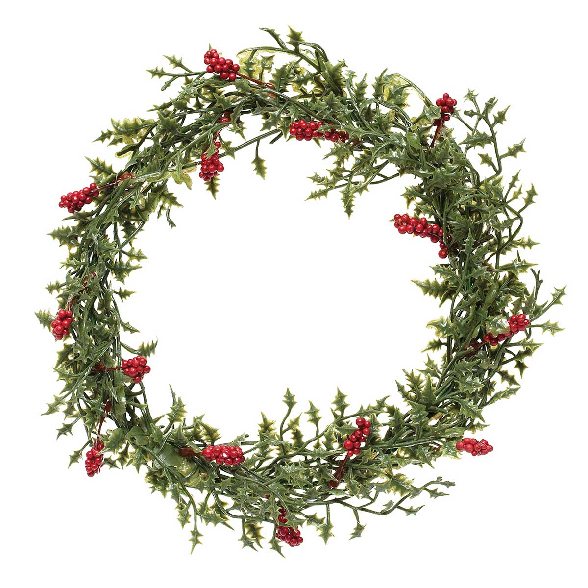 NATURAL HOLLY MINI WREATH WITH RED BERRIES