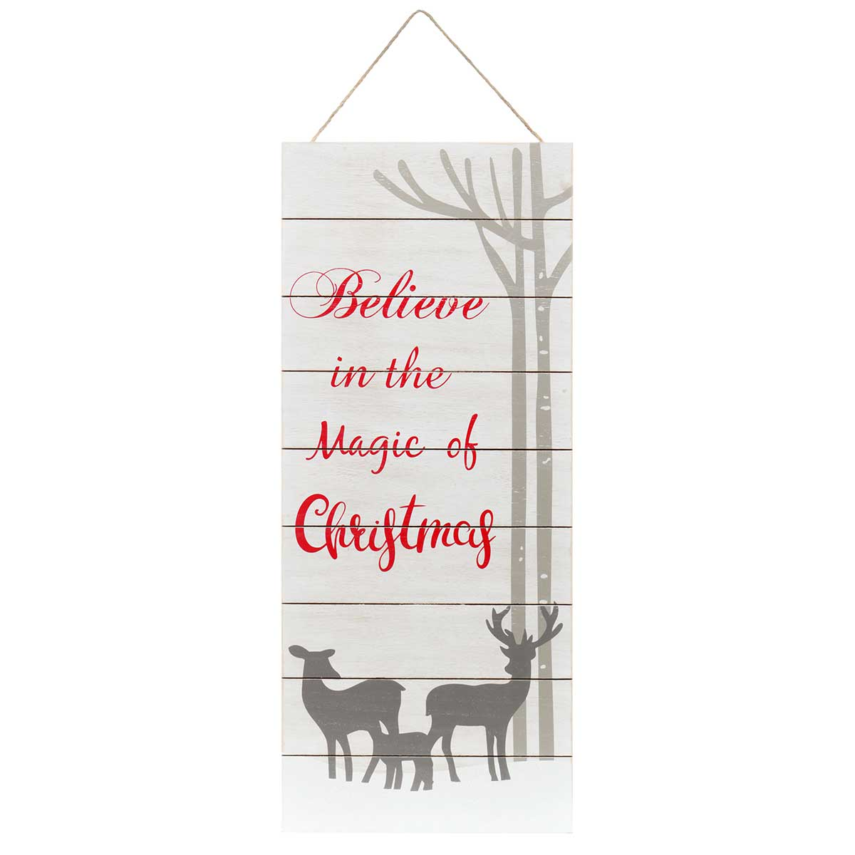 "MAGIC OF CHRISTMAS"" GREY/RED WOOD SIGN WITH ROPE HANGER 13""X0.2"