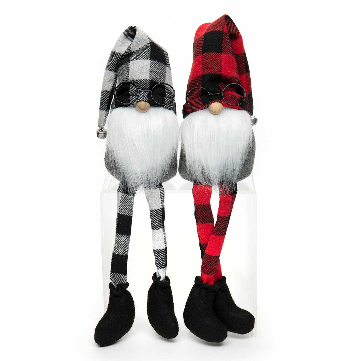 GNOME WITH GLASSES, BUFFALO PLAID
