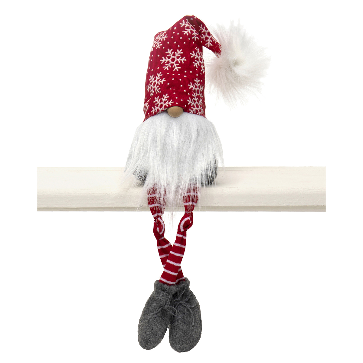 RED/WHITE XMAS GNOME WITH SNOWFLAKE