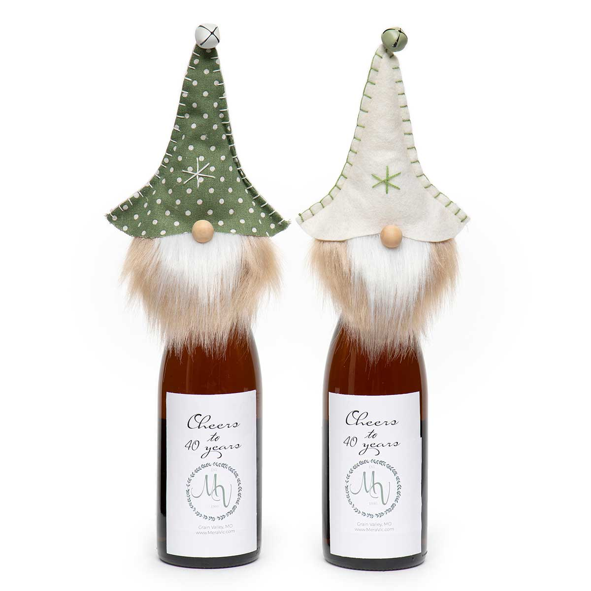 PINDOT GNOME BOTTLE TOPPER WITH JINGLE BELL,