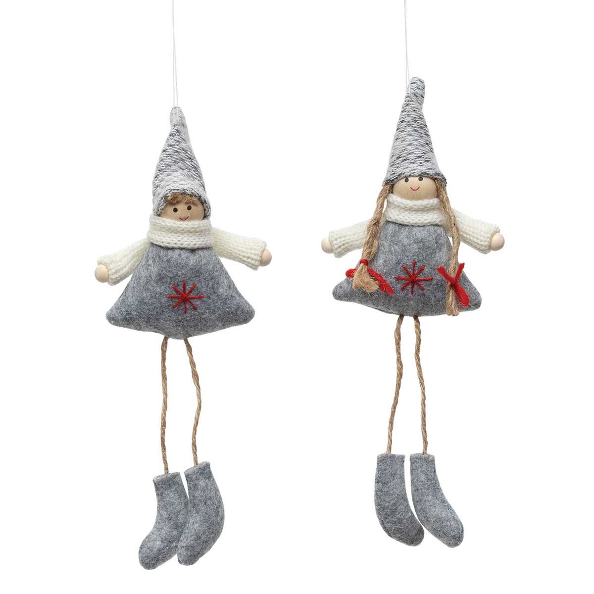 GREY BOY & GIRL ORNAMENT WITH SNOWFLAKE &