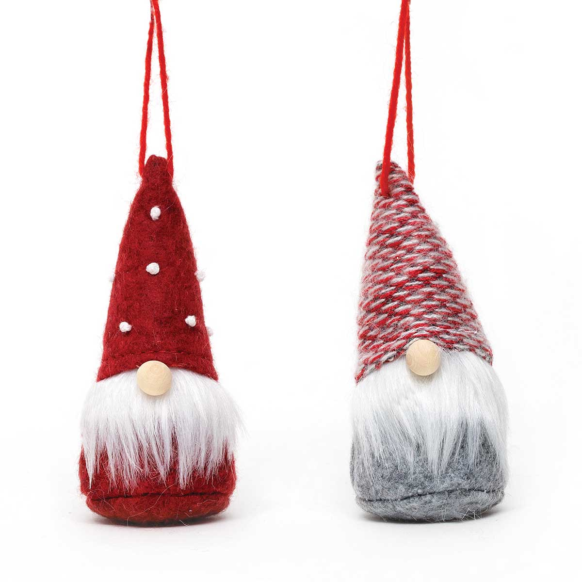 RED GNOME ORNAMENT WITH WOOD NOSE
