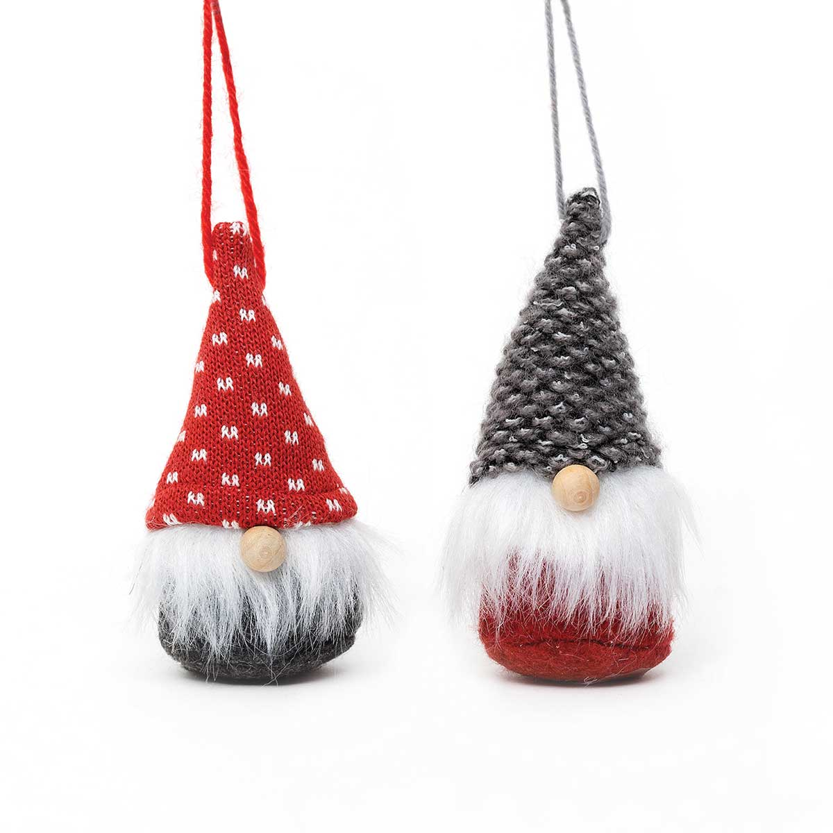 GREY AND RED GNOME ORNAMENT WITH WOOD