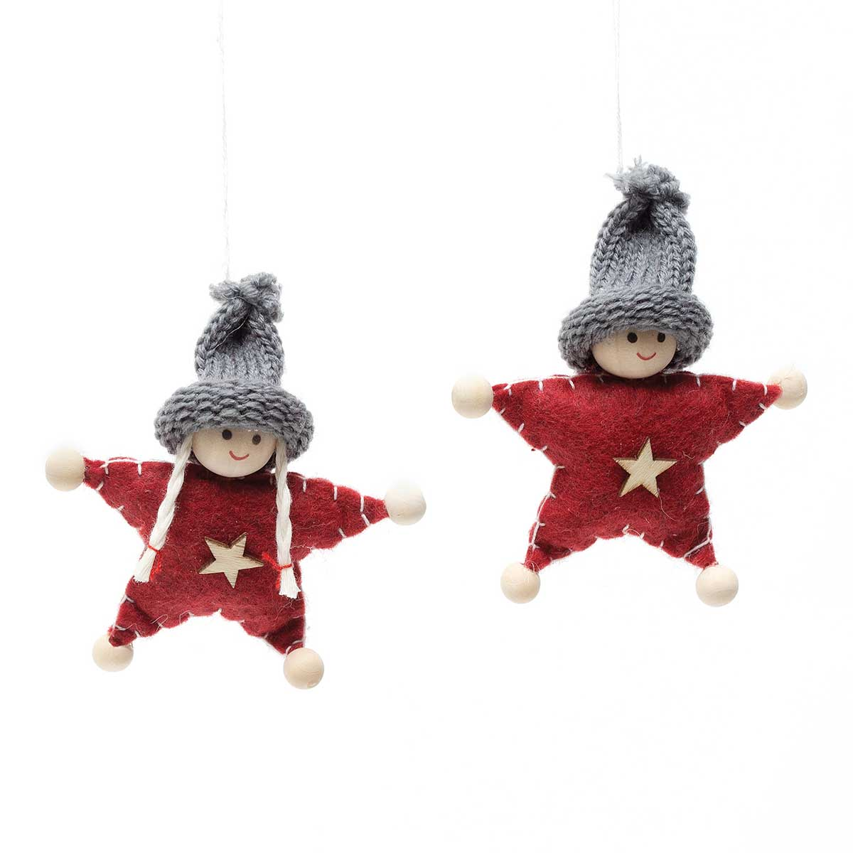 RED/GREY STAR ORNAMENT 2 ASSORTED STYLES - PRICE PER INDIVIDUAL
