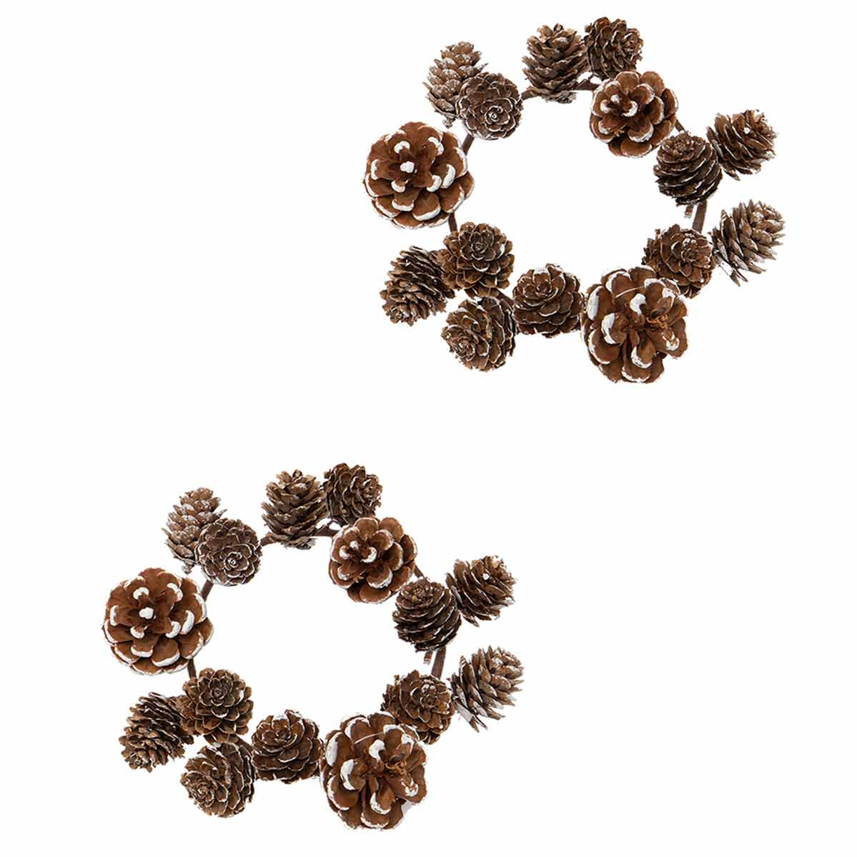 "SNOWY PINECONE CANDLE RING 7"" SET OF 2"