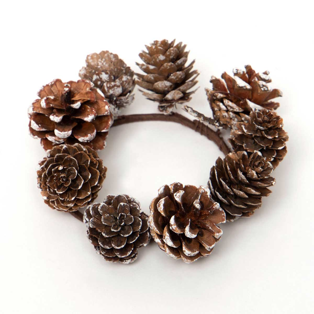 SNOWY PINECONE CANDLE RING