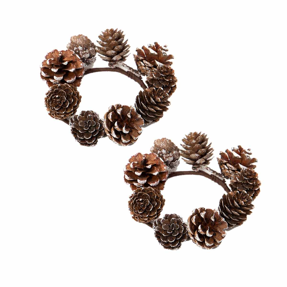 "SNOWY PINECONE CANDLE RING 5"" SET OF 2"