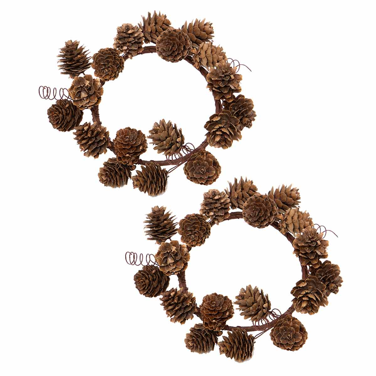 "NATURAL PINECONE CANDLE RING 7"" SET OF 2"