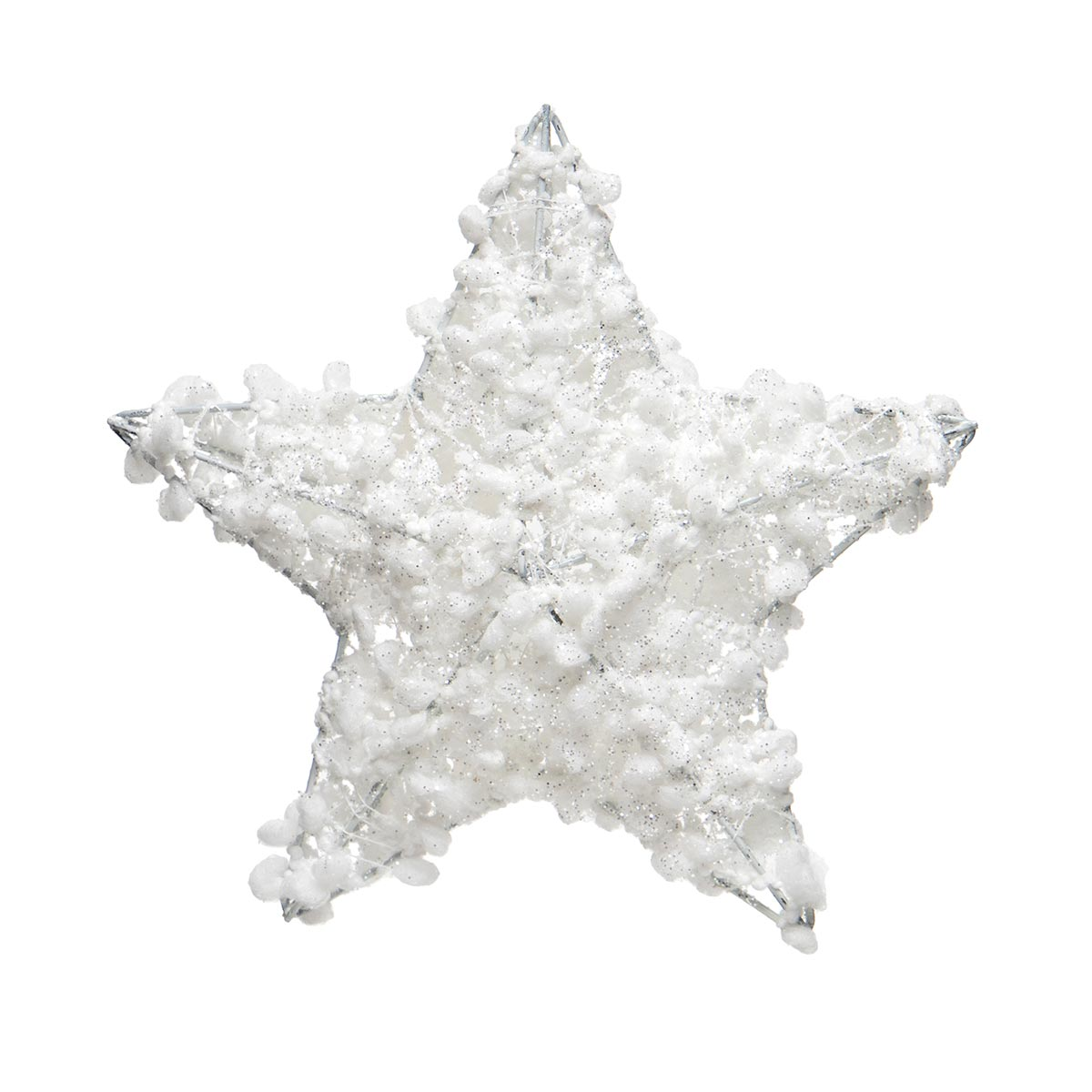 WHITE PUFF BALL STAR ORNAMENT WITH GLITTER