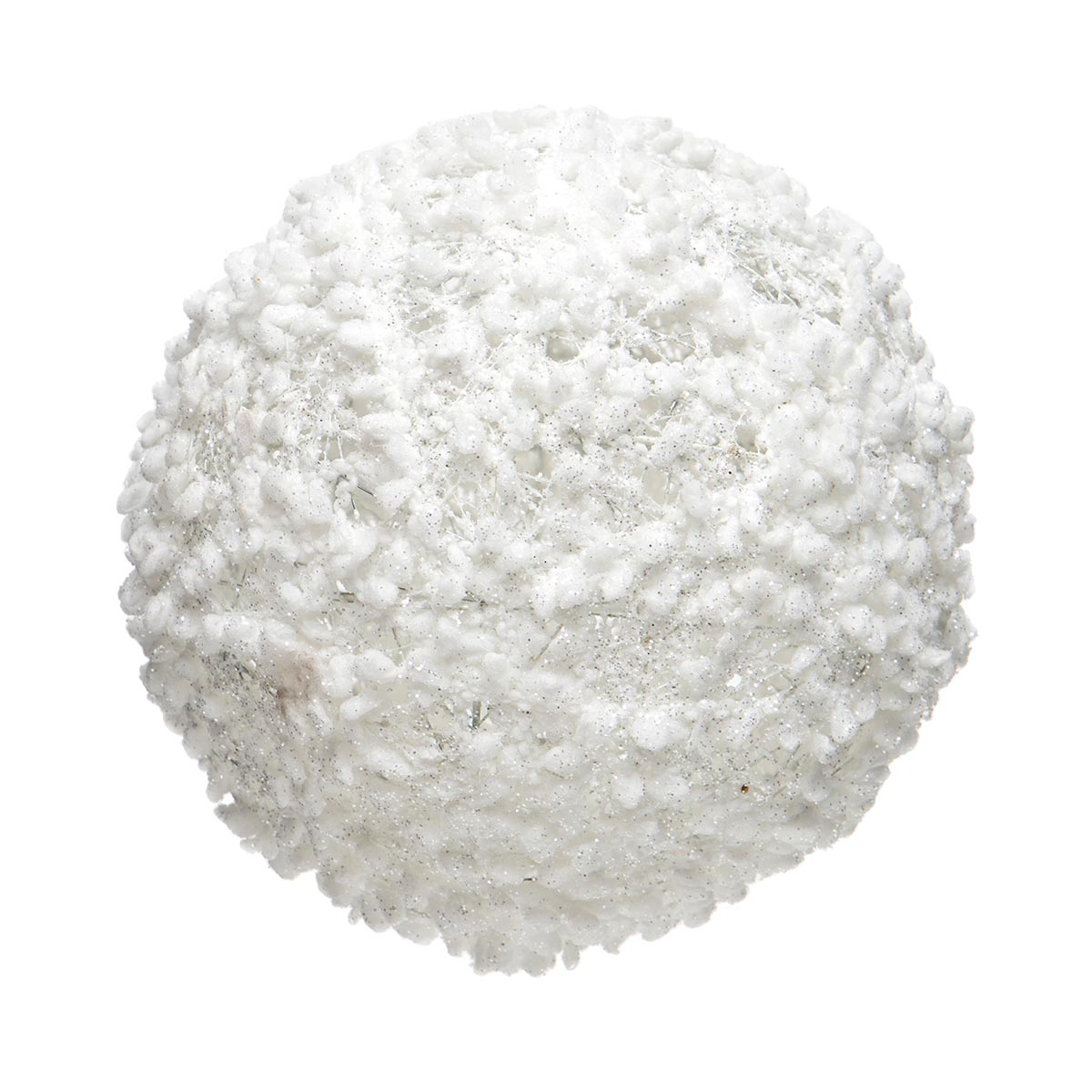 WHITE PUFF BALL ORNAMENT WITH GLITTER
