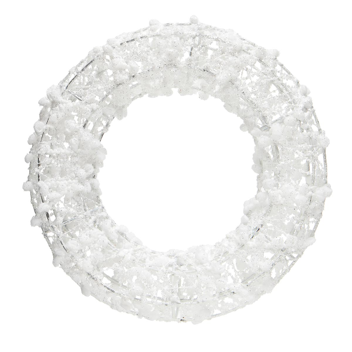 WHITE PUFF BALL WREATH