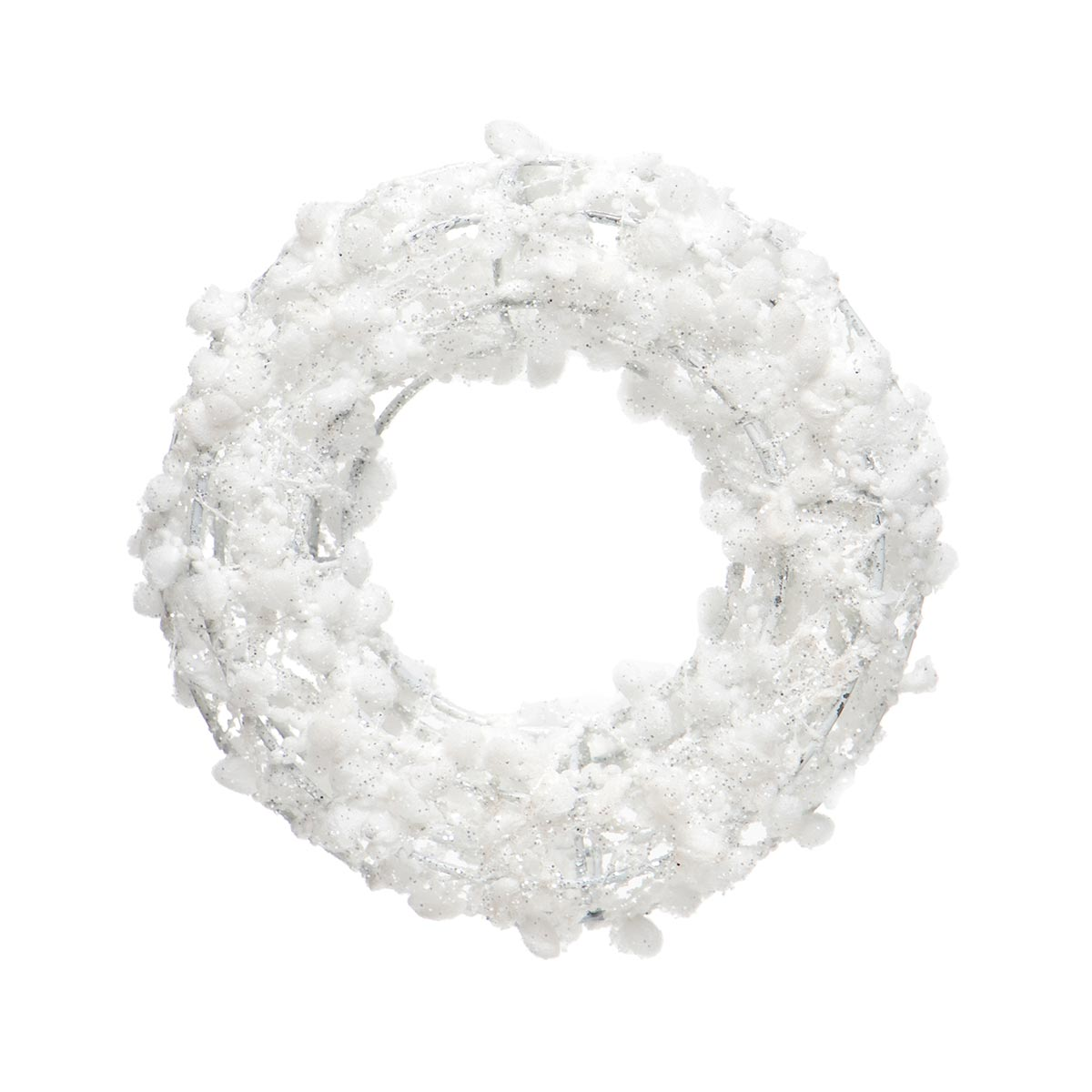 WHITE PUFF BALL WREATH ORNAMENT