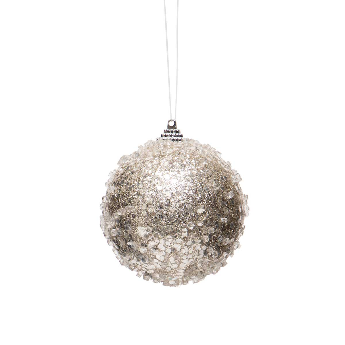 "PLATINUM ICE BALL ORNAMENT LARGE 5.5""X6"""