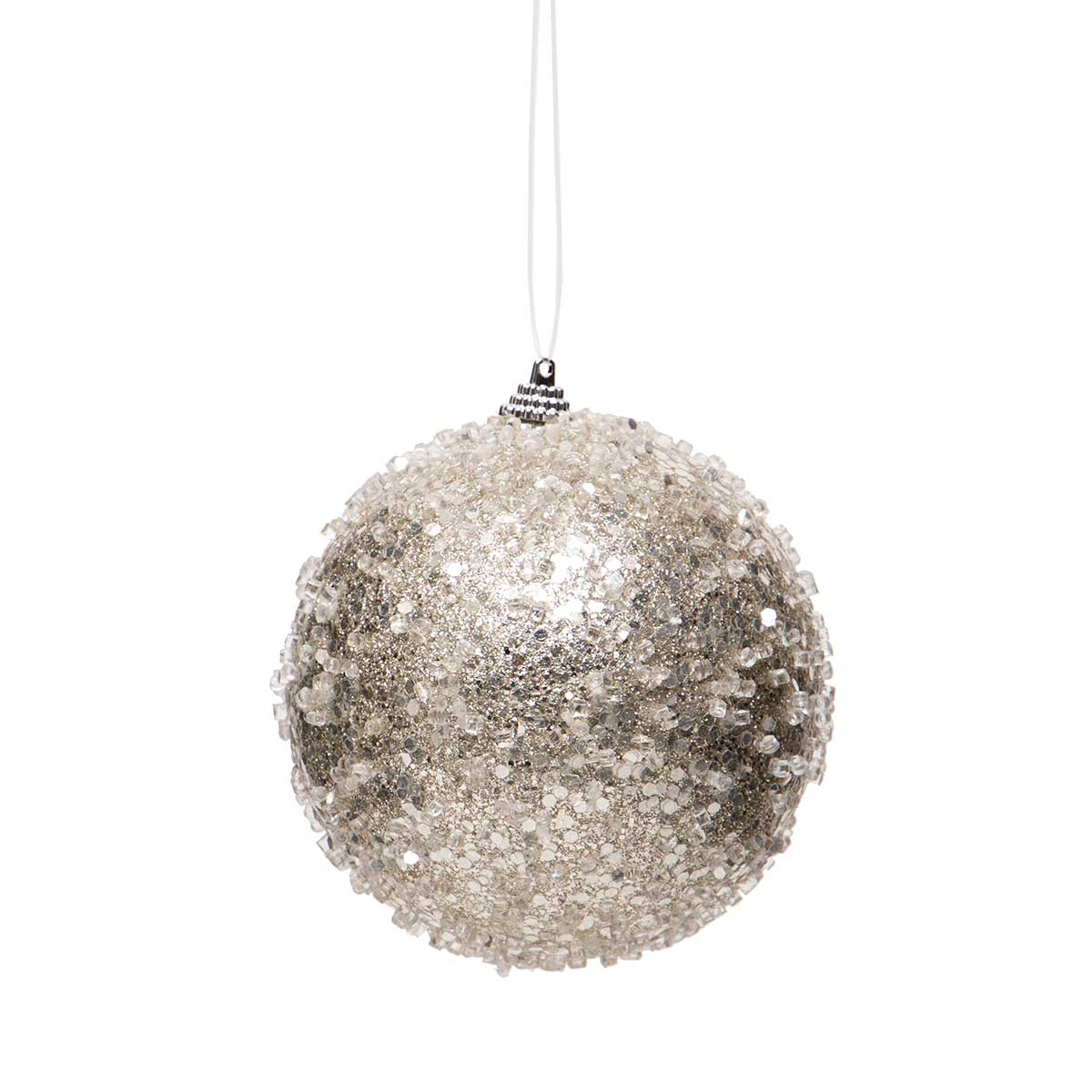 "PLATINUM ICE BALL ORNAMENT SMALL 3""X3.25"""