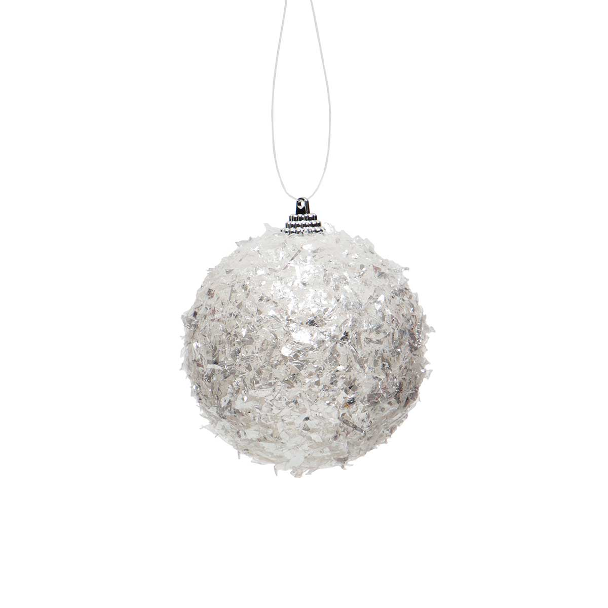 "WHITE/IVORY BALL ORNAMENT SMALL 3.25""X3.5"""
