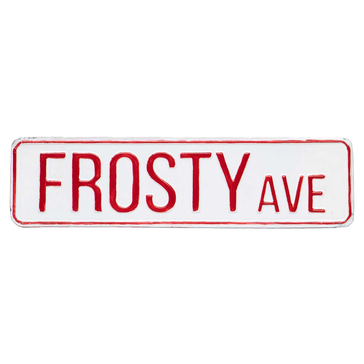 "WHITE METAL ""FROSTY AVE"" SIGN 14.75""X4"""