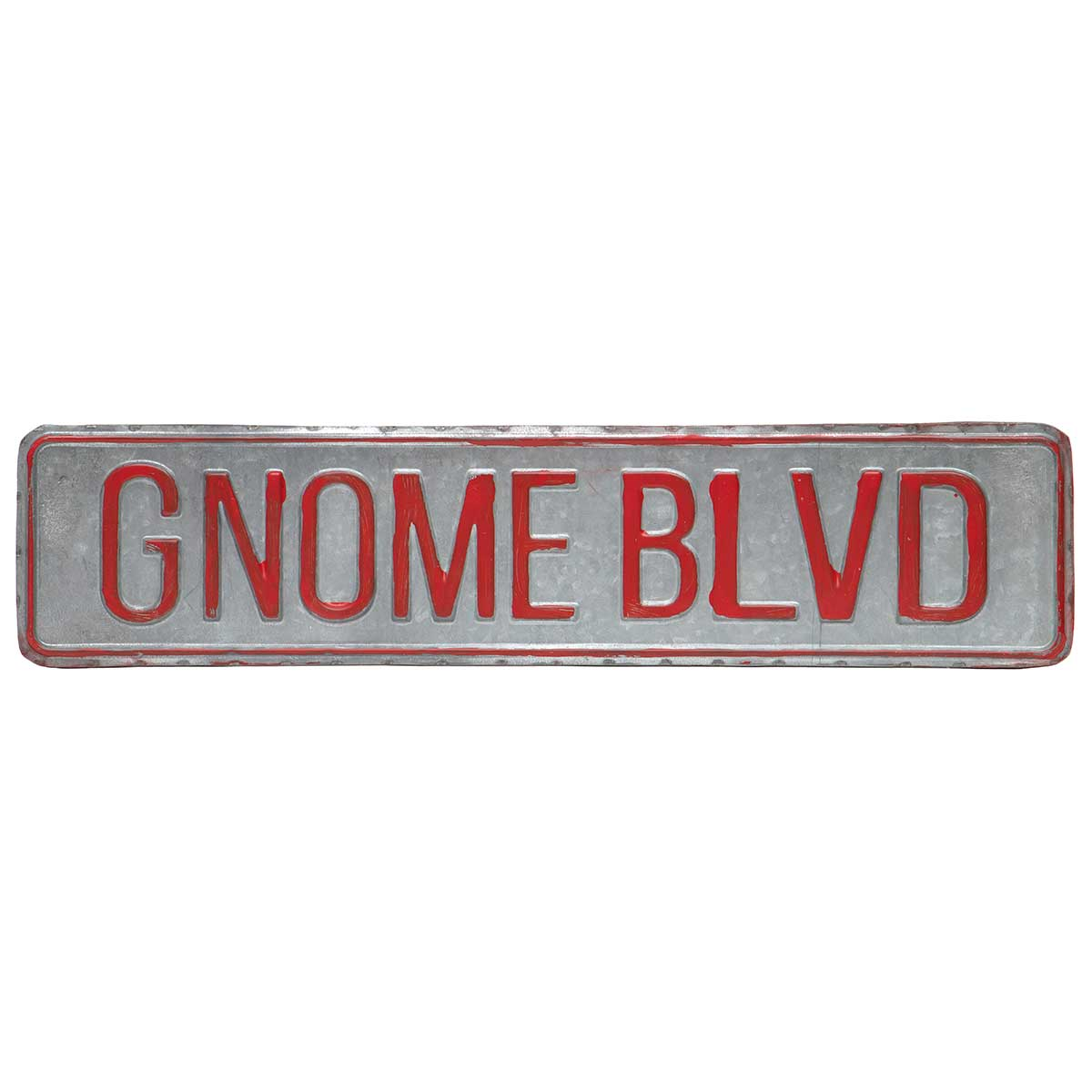 "SILVER METAL ""GNOME BLVD"" SIGN 17""X4"""