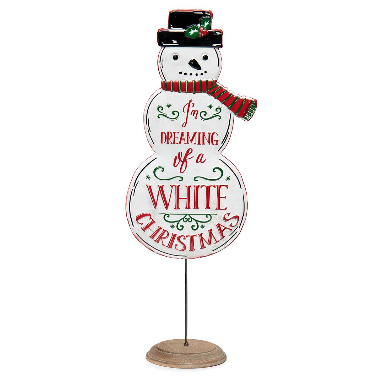 "METAL ""WHITE CHRISTMAS"" SNOWMAN ON STAND"