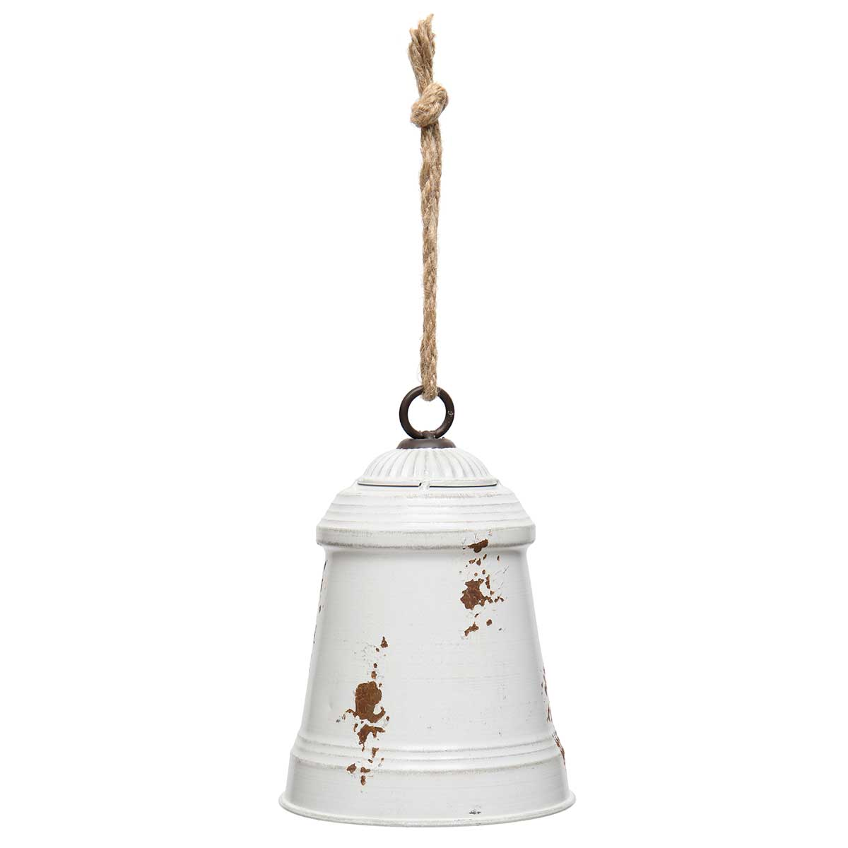 ANTIQUE WHITE METAL DOME BELL