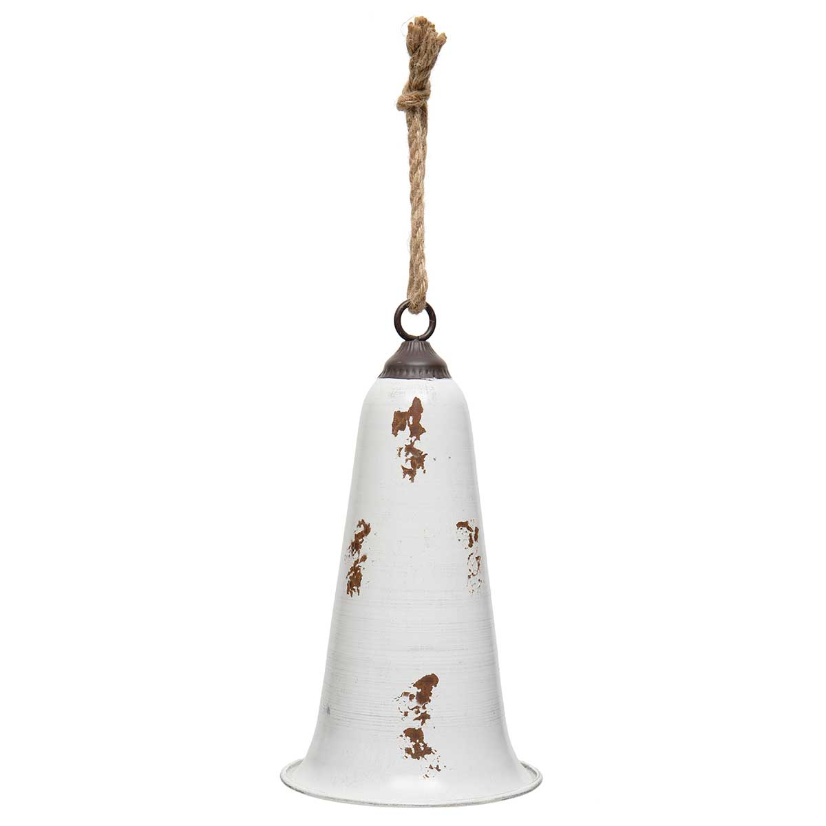 ANTIQUE WHITE METAL HOLIDAY BELL