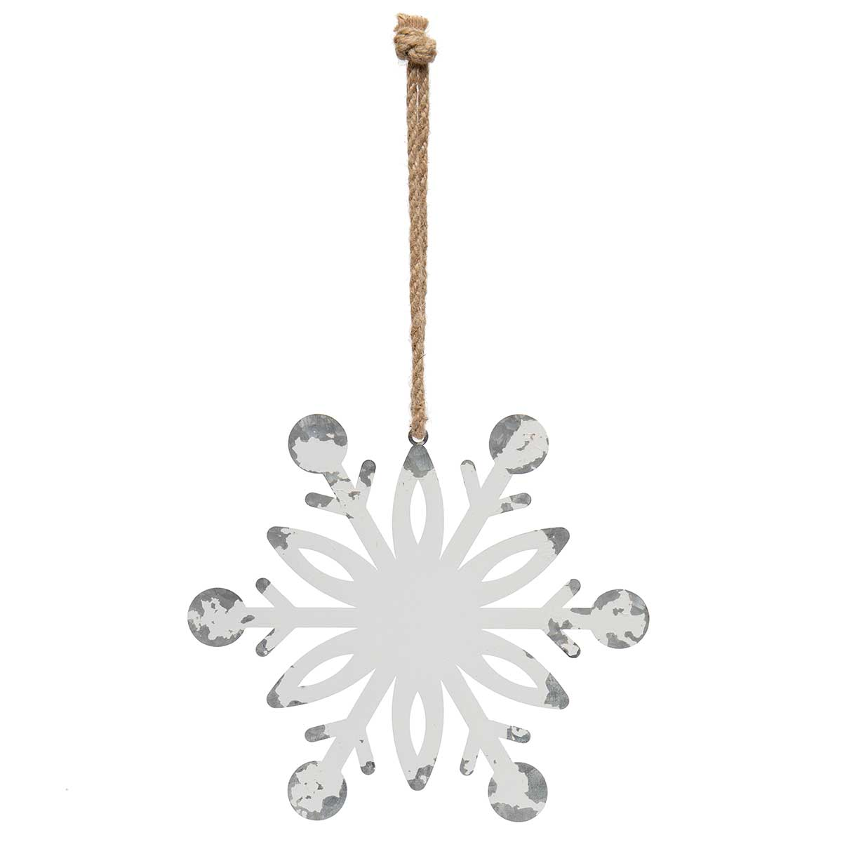 ANTIQUE WHITE METAL SNOWFLAKE ORNAMENT