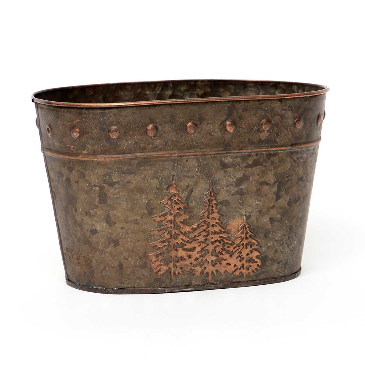 OVAL BRONZE FINISH METAL BUCKET