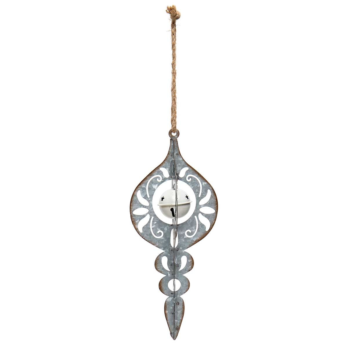 METAL FINIAL ORNAMENT WITH JINGLE BELL