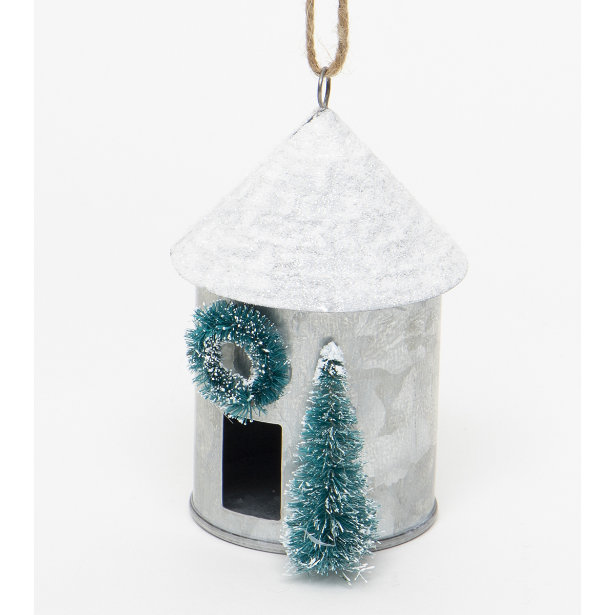 METAL SILO ORNAMENT WITH WHITE GLITTER
