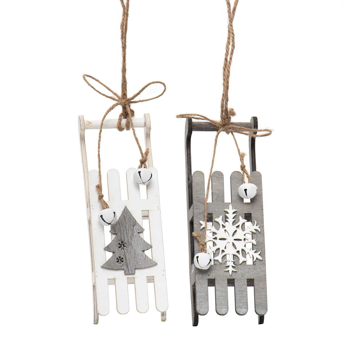 GREY/WHITE WOOD SLED ORNAMENT WITH