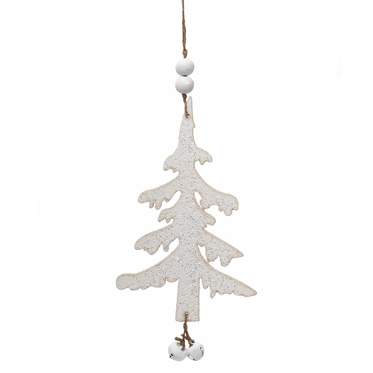 WHITE WOOD TREE DANGLE ORNAMENT