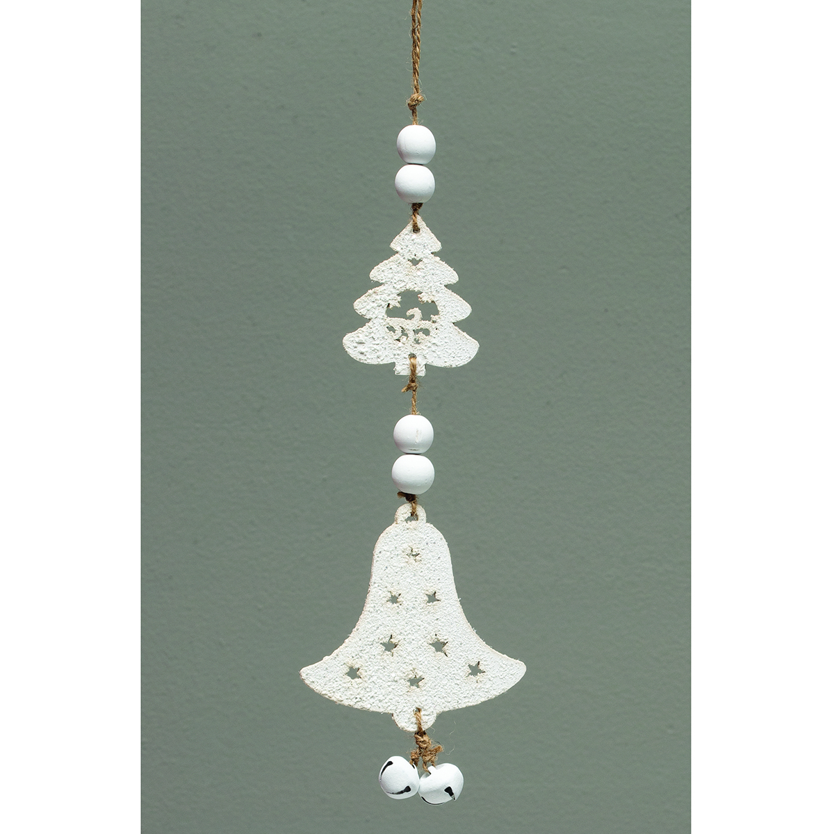 WHITE WOOD BELL DANGLE ORNAMENT