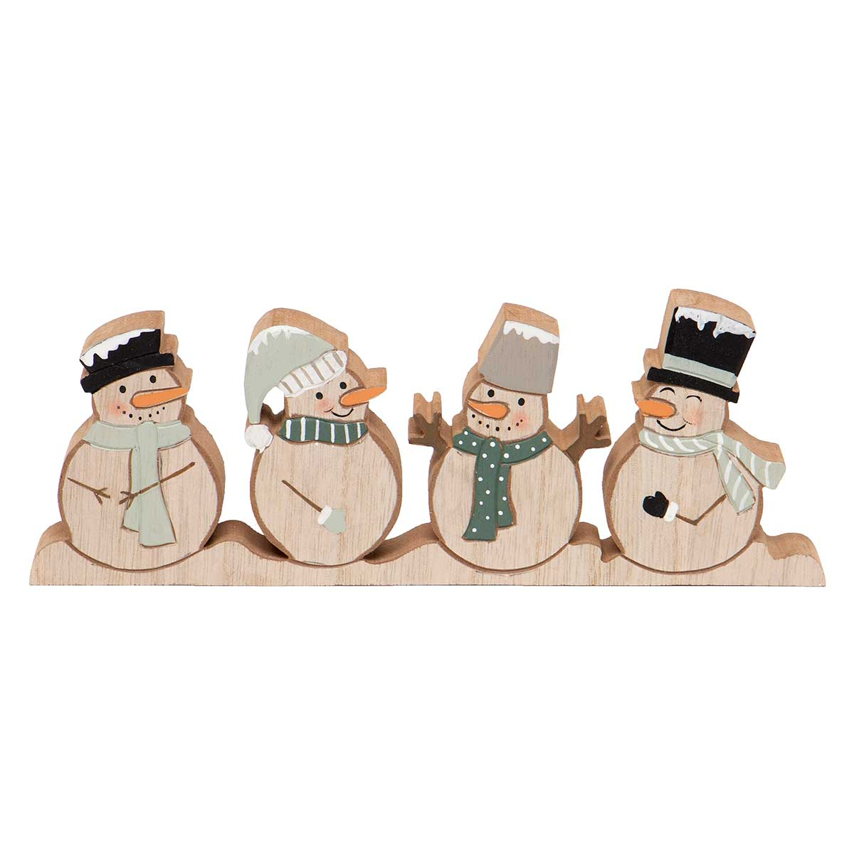 "WOOD SNOWMAN SHELF SITTER 9""X.75""X3.25"""