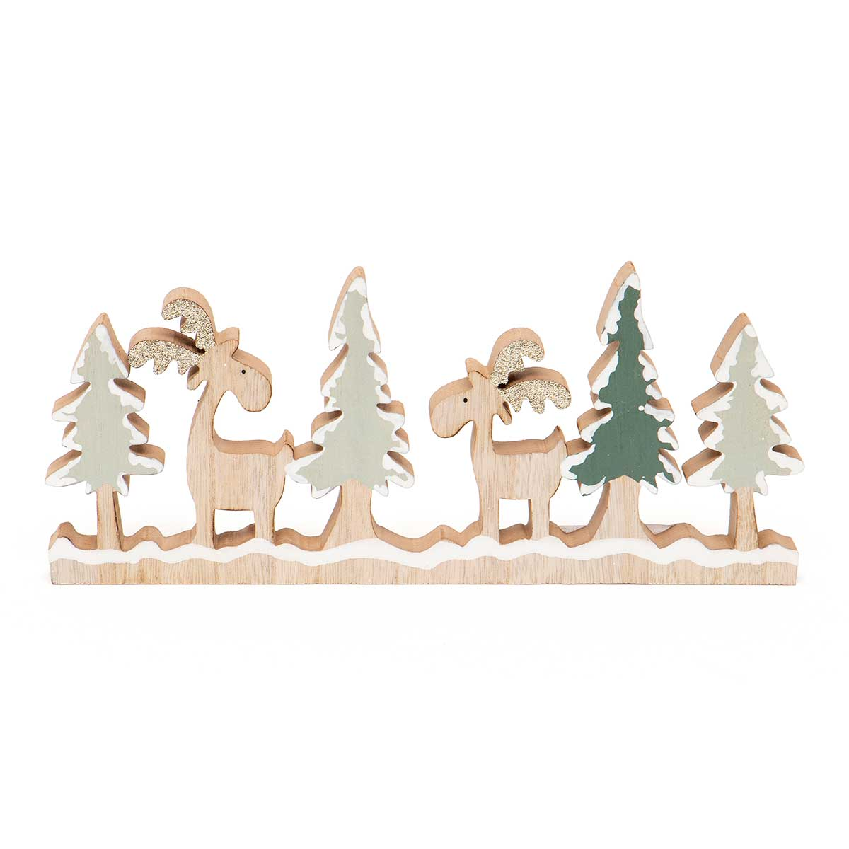 WOOD DEER AND TREE WITH GLITTER SHELF SITTER