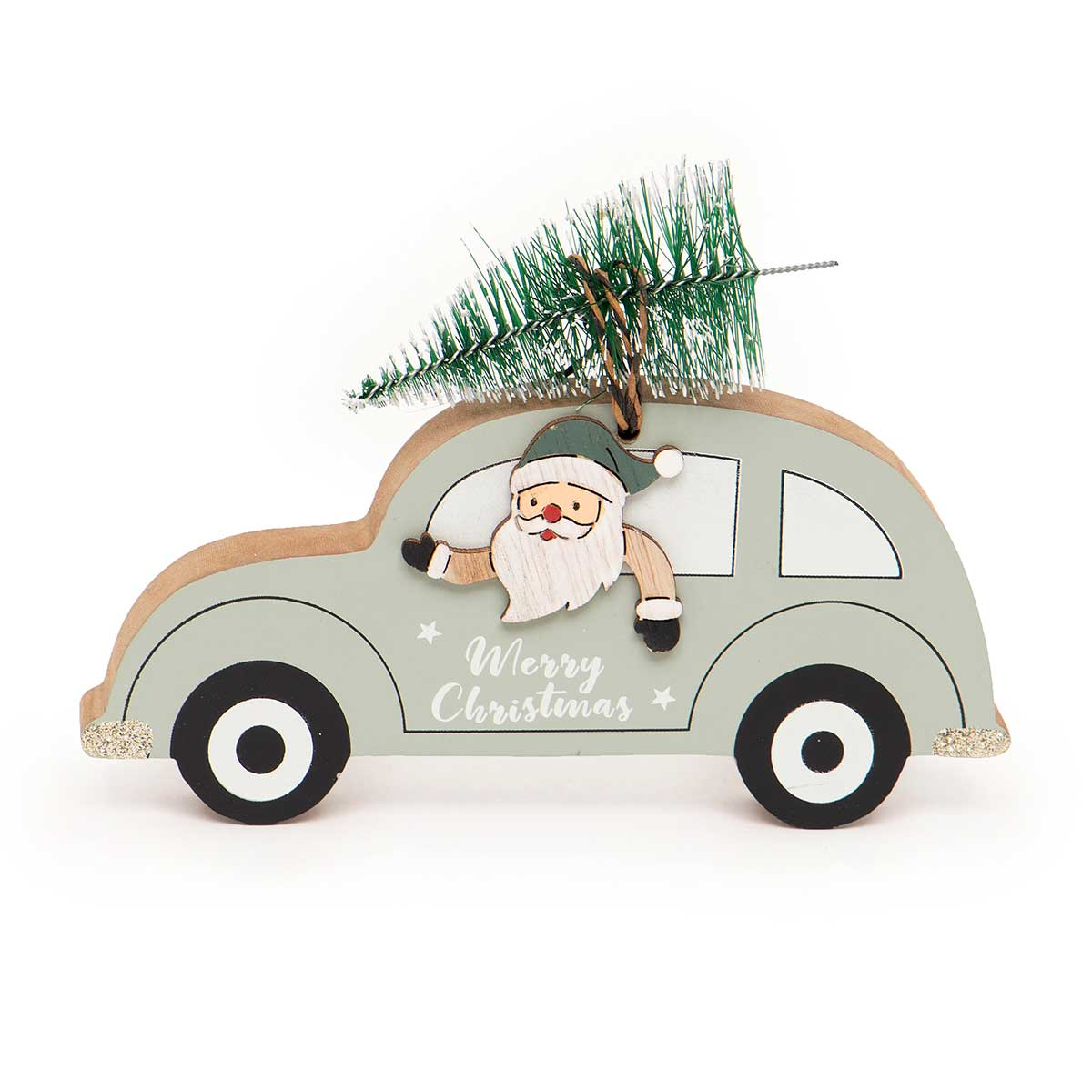 WOOD SANTA IN CAR WITH TREE ON ROOF SHELF SITTER