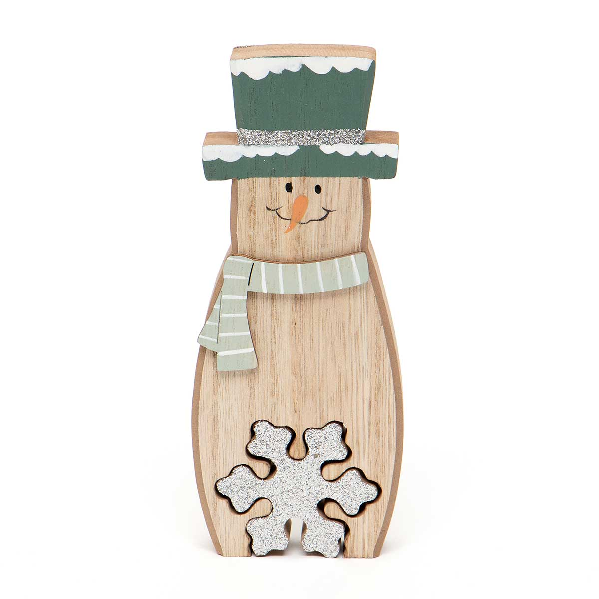 WOOD SNOWMAN WITH GLITTER SNOWFLAKE SHELF SITTER
