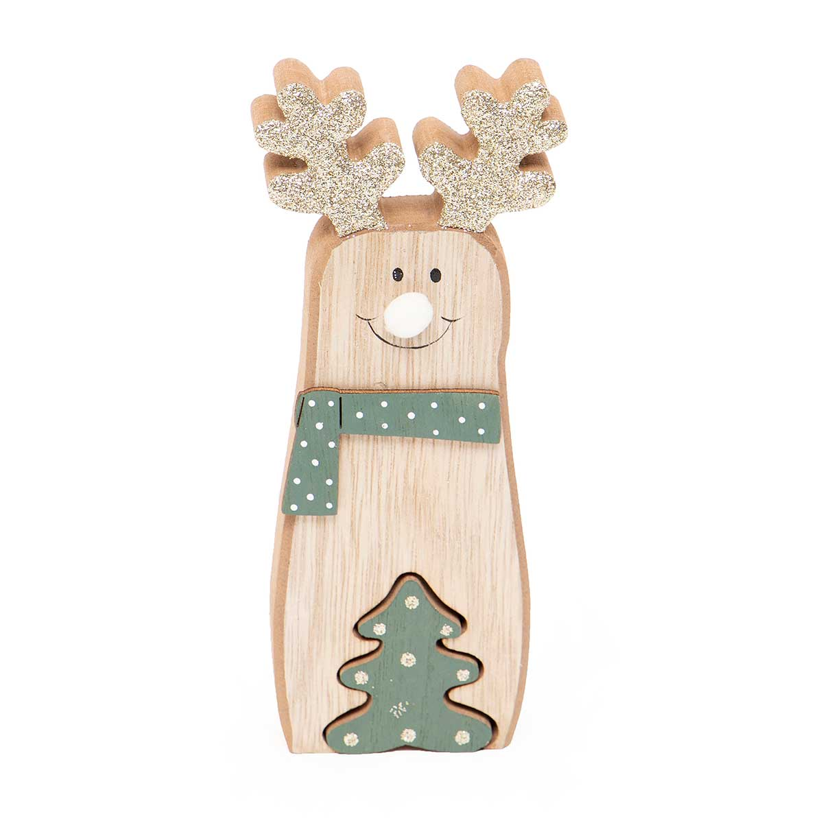 WOOD DEER WITH TREE AND GLITTER SHELF SITTER