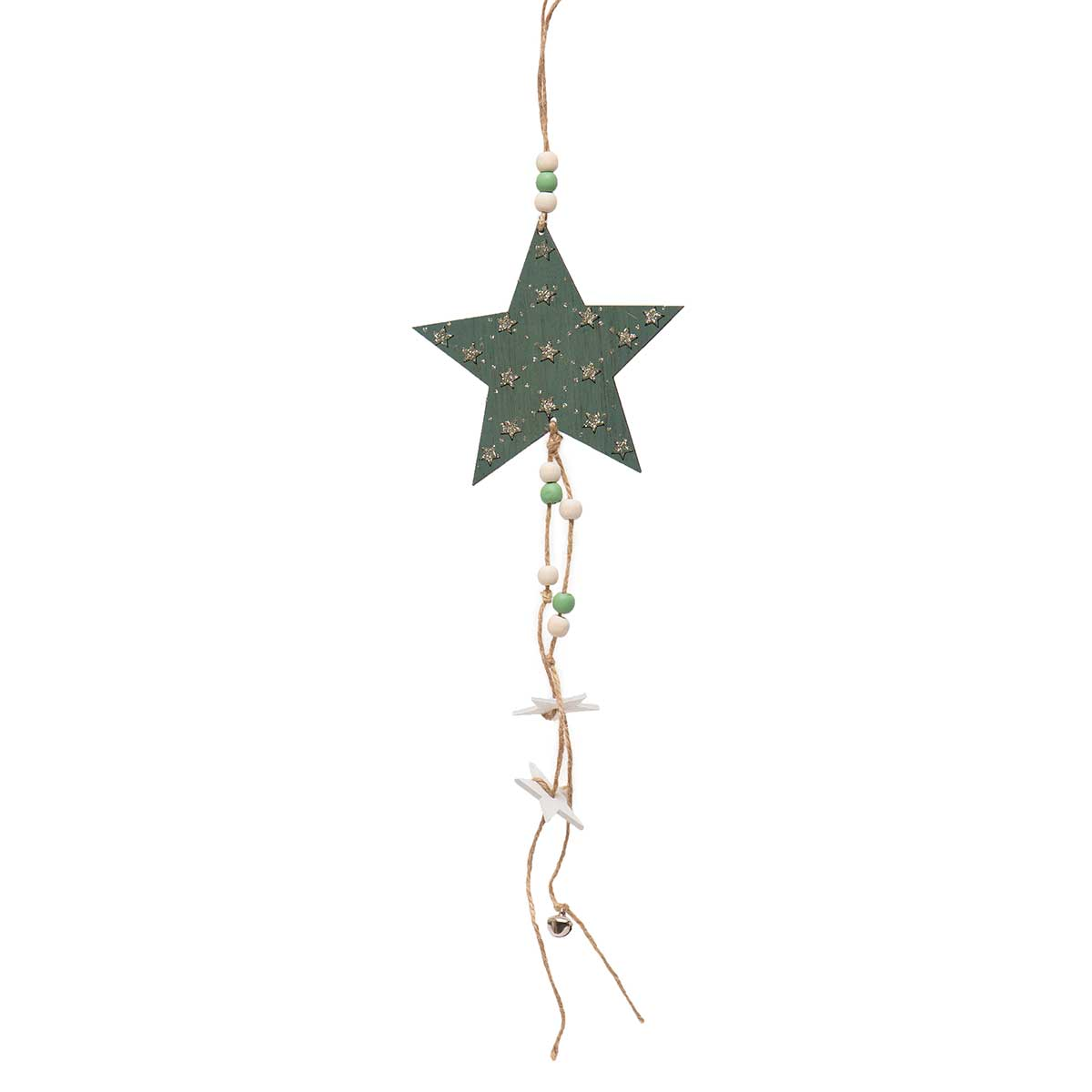 GREEN WOOD STAR DANGLE WITH GLITTER,