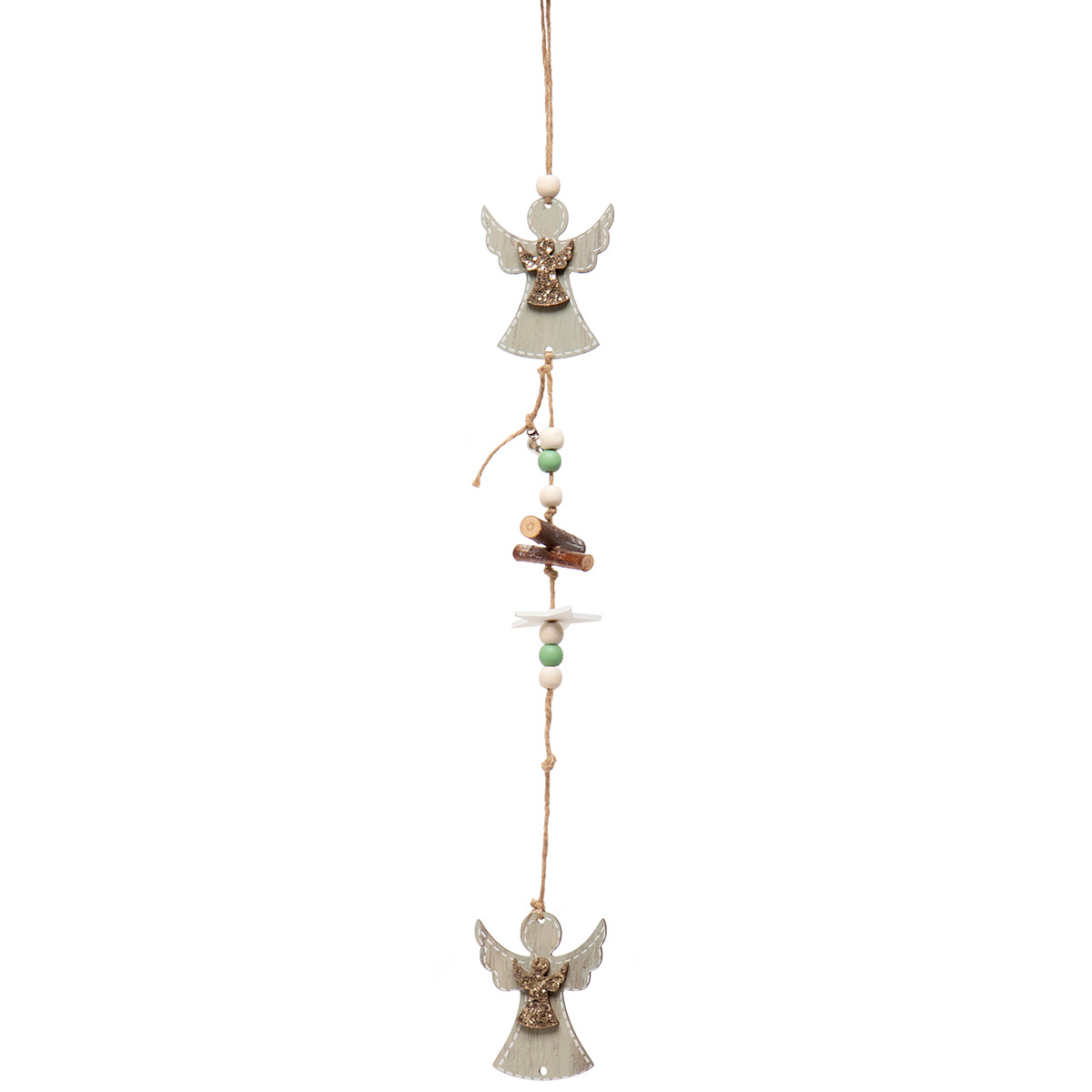 ANGEL DANGLE WOOD ORNAMENT WITH STAR, BEADS, JINGLE