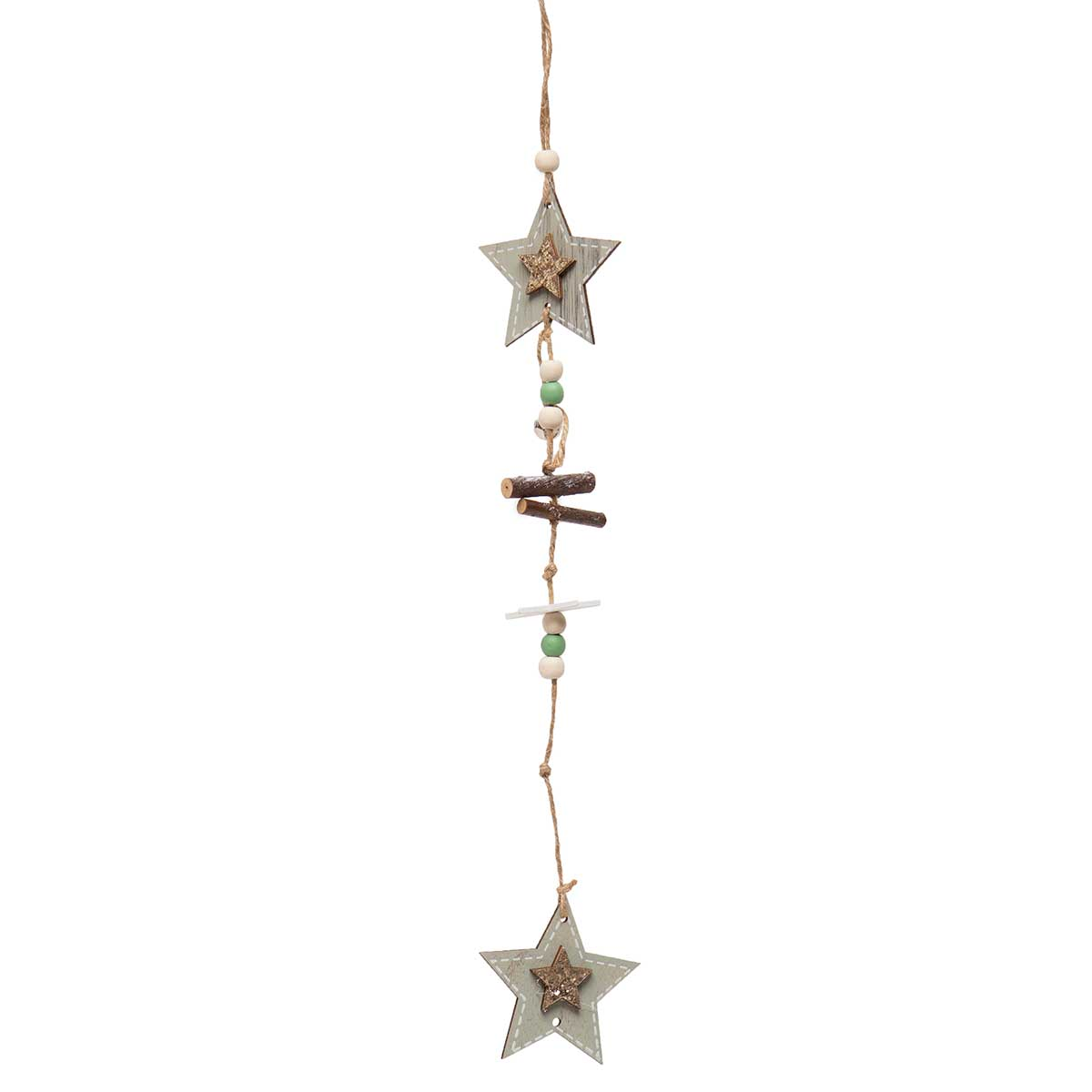 LIGHT GREEN WOOD STAR WITH BEADS, JINGLE