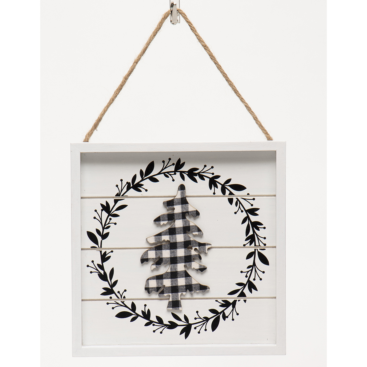 WHITE/BLACK WOOD BUFFALO PLAID LAUREL/WREATH