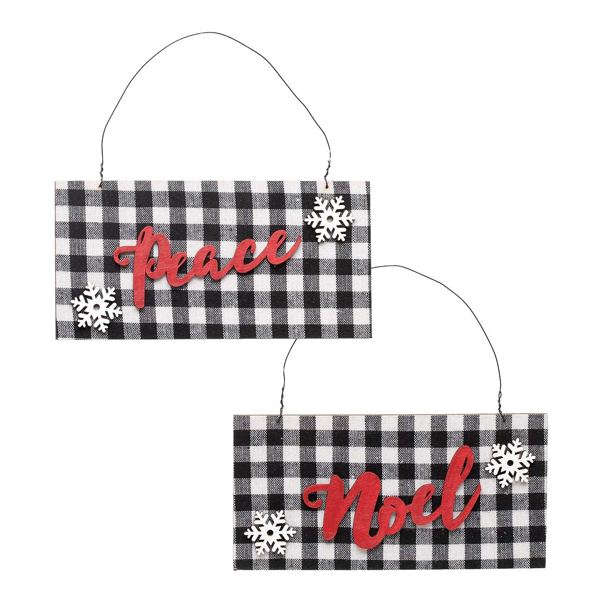 WHITE/BLACK WOOD BUFFALO PLAID RECTANGLE SIGN WITH