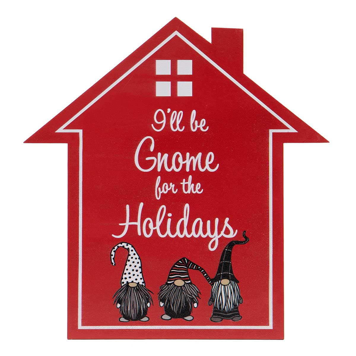 "RED/WHITE WOOD ""GNOME FOR HOLIDAYS"" HOUSE SIGN"