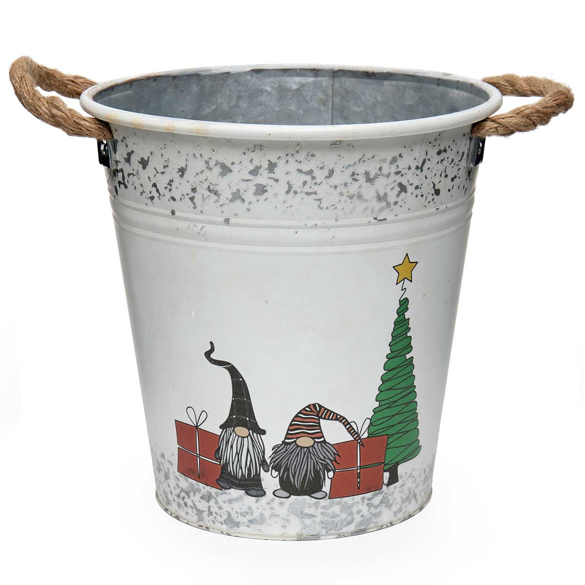 OVAL METAL GNOME CHRISTMAS SCENE BUCKET