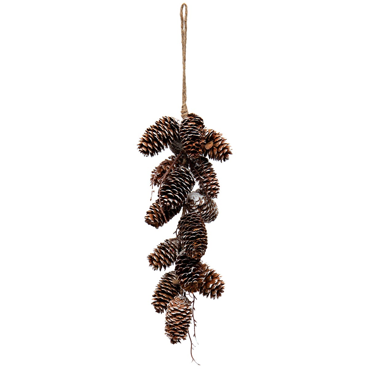 SNOWED PINECONE CLUSTER DROP WITH TWINE HANGER AND